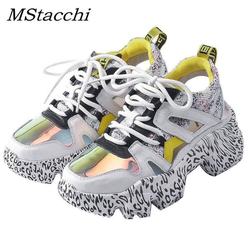 MStacchi Graffiti Hakken Vrouw Sneakers Mesh Hollow Leather Chunky Platform Sneakers Dames Kleurrijke Lace Up Schoenen Klimplanten Schoenen-in Sneakers voor vrouwen van Schoenen op  Groep 1