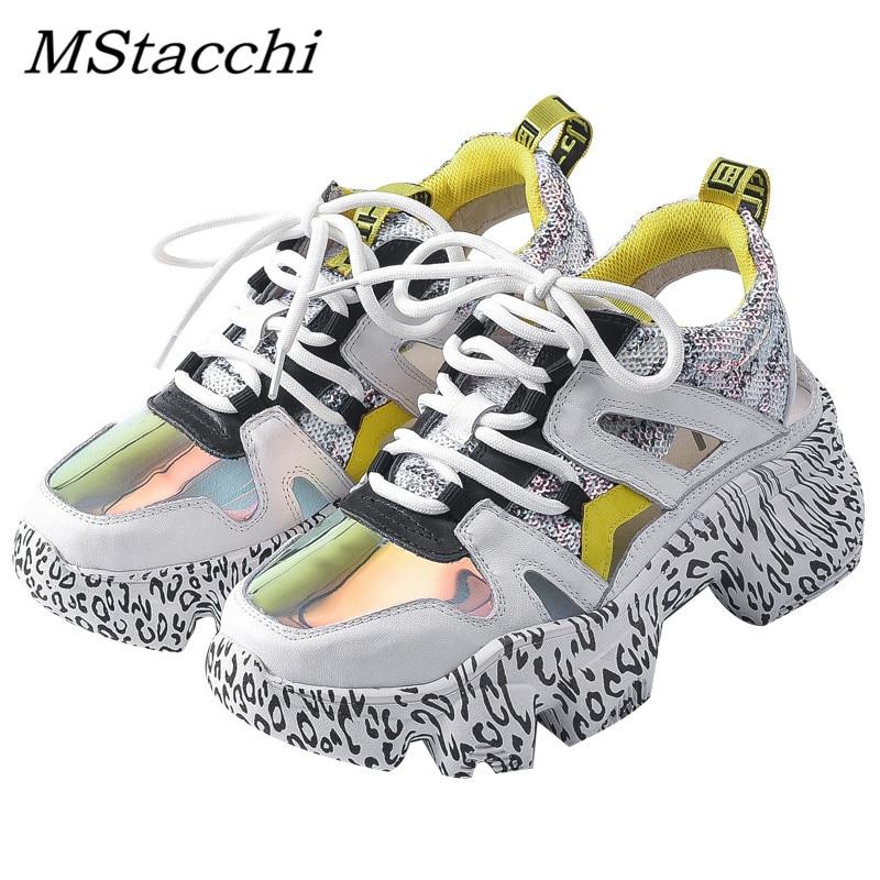 MStacchi الكتابة على الجدران الكعوب امرأة رياضية شبكة الجوف جلدية مكتنزة منصة أحذية رياضية السيدات الملونة الدانتيل متابعة أحذية الزواحف الأحذية-في أحذية مطاطية نسائية من أحذية على  مجموعة 1