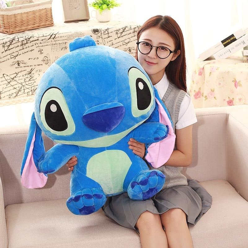 Cartoon Stitch Long Bed Pillow Blue Stitch Plush Toy Stuffed Soft Sofa Cushions