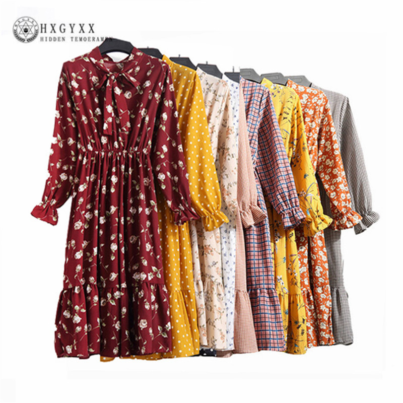 Floral Print Vintage Dress Long Sleeve Spring Summer Stand Collar Elastic Waist Casual Clothing Vestidos Mujer Robe O6