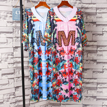 Street Wear Novelty Letter M Bead Floral Dress V Neck Mid Long T-Shirt Dress Casual Plus Size Loose Dress
