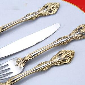 Image 5 - ステンレス鋼食器西洋食器パターンカトラリー 6 個セットスプーンナイフフォークセットキッチンホーム WZN018