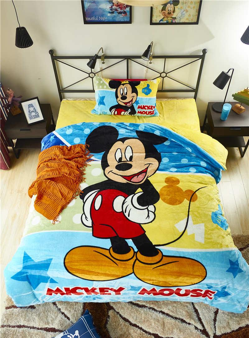 Disney Mickey Mouse 3d Imprime Flanelle Literie Twin Set Complet