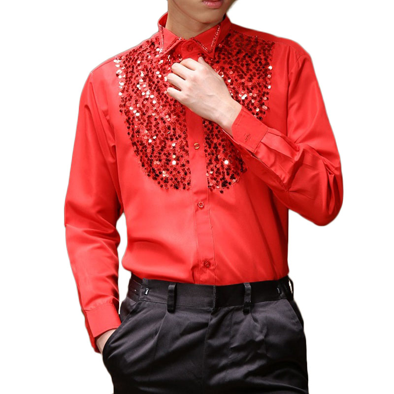 Mens Latin Dance Costumes Cotton Blend Sequin Shirt Long-sleeved Male Ballroom Dance Dresses Modern Tango Rumba Dancing Clothing