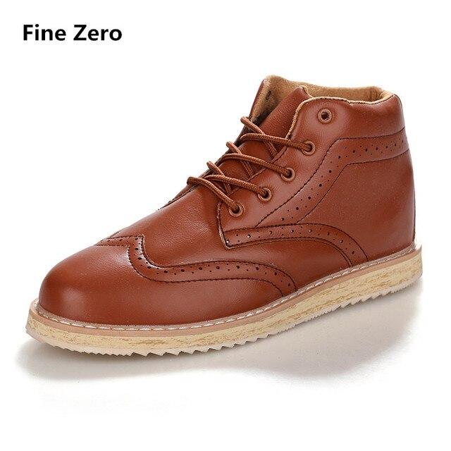 Fine Zero Men Plus size 46 47 Winter Warm Short Plush Brogue Vintage Snow Boots Male Lace up Dress High Tops Unisex Autumn Botas
