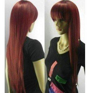 new sexy Stylish long hair Straight Burgundy wig