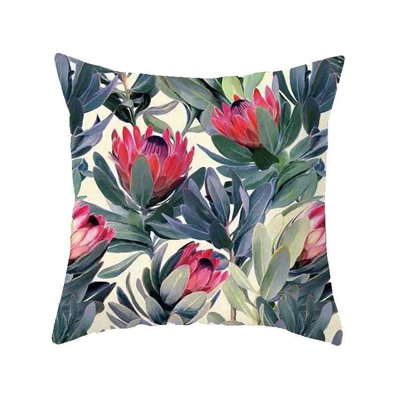 カラフルな花植物クッションカバーヴィンテージ枕花プリント座椅子ポリエステル綿ホーム装飾スロー枕