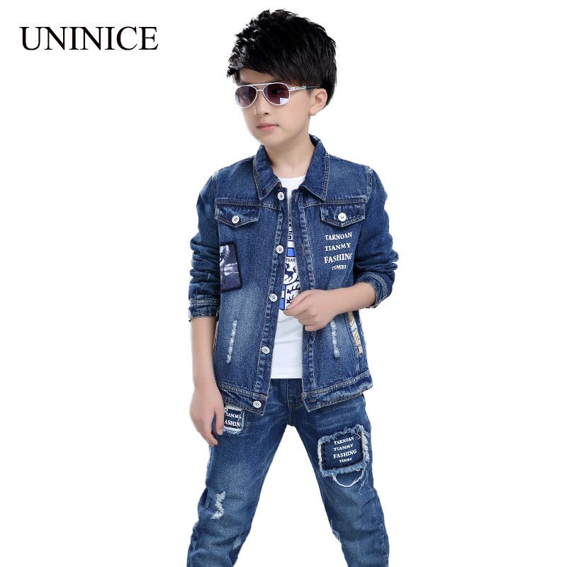 UNINICE New Children's Clothing Autumn Teenager Boys Sport Suit Boys Clothes 2017 Casual Fashion Denim Long Sleeve Kids Clothes 2017 new boys clothing set camouflage 3 9t boy sports suits kids clothes suit cotton boys tracksuit teenage costume long sleeve