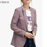 LXUNYI European Ladies Blazers 2018 Spring Coat Women Long Sleeve Casual Red Plaid Single Button Woman