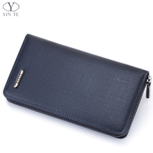 YINTE Men's Clutch Wallet Leather Blue Bag England Style Men Clutch Bag Leather Card Wallet Phone Purse Small Wallet Men T8088-1