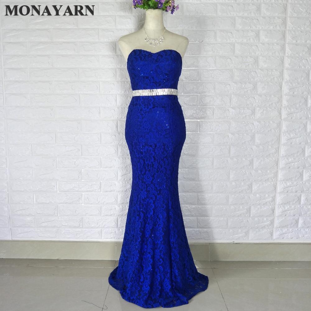 Livraison gratuite 2017 longues robes de soirée pas cher nouveau pas de bandoulière sexy élégant cristal perlé bleu dentelle sirène longue robe Cus