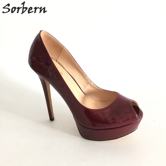 ebdf7a81a59 Sorbern Wine Red Patent Leather Pump Shoes Women Shoes Size 12 Women Shoes  Extreme High Heel Platforms Italian Shoe EU34-46