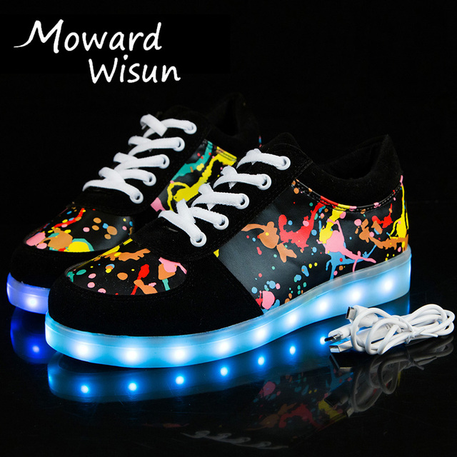 Новинка 2017 года граффити светящиеся световой Спортивная обувь с легкой  подошвой Дети Обувь для мальчиков Tenis e69a712a0ddf3
