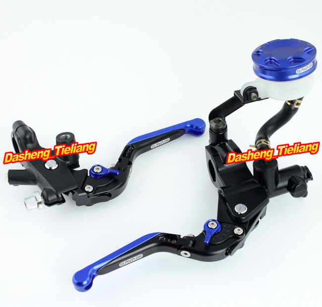 Universal 7/8 22mm Motorcycle Brake Clutch Lever Master Cylinder Kit Reservoir Blue Aluminum Alloy High Quality 38mm cylinder barrel piston kit