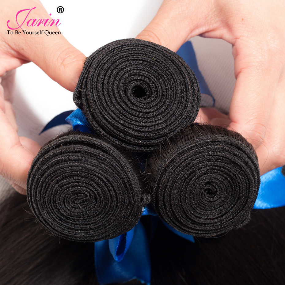 Image 4 - Brazilian Straight Hair Bundles With Closure 5x5 Human Hair 3 Bundles With Lace Closure Free Middle Three Part Remy Jarin Hair-in 3/4 Bundles with Closure from Hair Extensions & Wigs