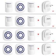 110 V 240 V Draadloze Deurbel Pir Infrarood Sensor Bewegingsmelder Entry Deurbel Alarm W/Ontvanger & zender Eu/Us Plug Hot