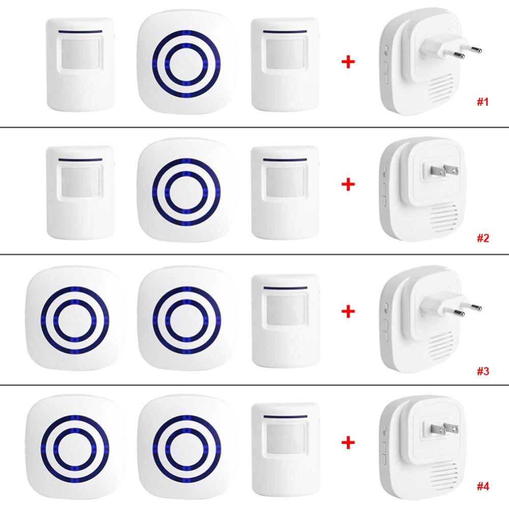 110 V-240 V Drahtlose Türklingel Pir Infrarot Sensor Motion Detektor Eintrag Tür Glocke Alarm W/receiver & Sender Eu/us-stecker Hot