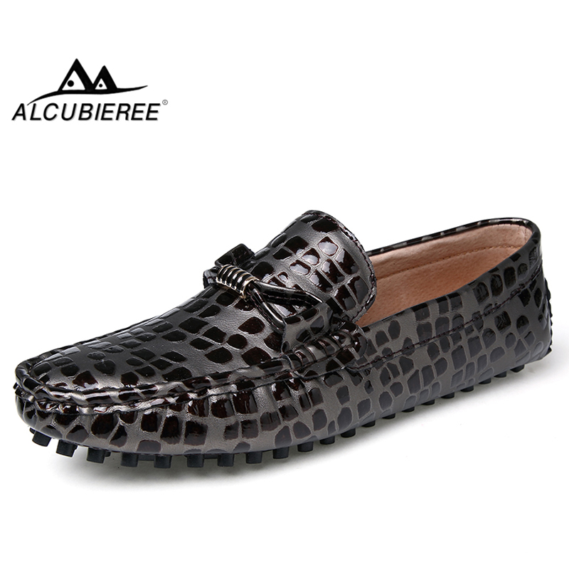 ALCUBIEREE Fashion Patent Leather Gommino for Men Polka Dot Loafers Man Summer Lightweight Breathable Moccasins Male Boat Shoes
