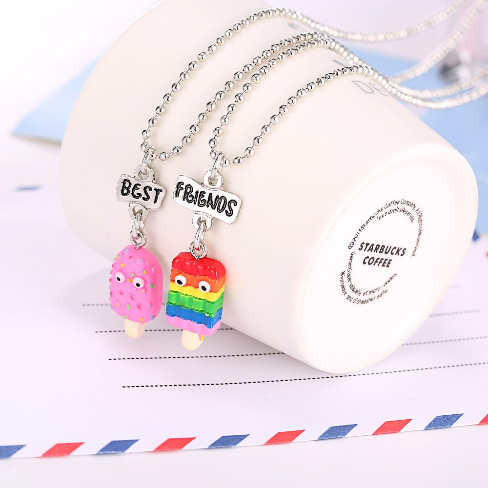 New Arrive Set Of 2 BFF Necklaces With Rainbow Resin Popsicle Pendant On Bead Chain Necklace For kids Jewelry