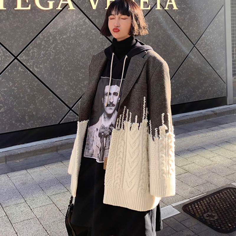Pour Costume Batch down Wd35702l 2019 Unique Mode Tricots Second Vêtement Femme Collar Printemps Nouveau Veste Turn Patchwork Pleine Manches De wxXqZRf