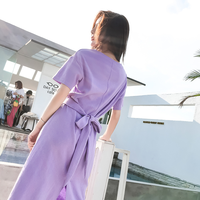 0f82ffe124b Dress summer dress Slim Comfortable New dress Solid color crew neck dress  AI044-in Dresses from Women s Clothing on Aliexpress.com