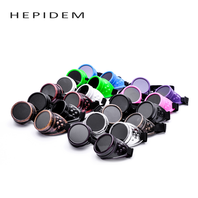 HEPIDEM Unisex Gothic Vintage Victorian Style Steampunk Goggles Welding Punk Gothic Glasses Cosplay 12 colors cheap cyber goggles steampunk glasses vintage retro welding punk gothic victorian durable goggles glasses sunglasses 2016 hot sale