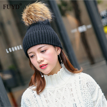 Autumn Winter Beanies Hat 2017 Wool Skullies Casual Cap With Real Fox Fur Pompom Solid Colors Ski Gorros Cap Furry Warm Beanies