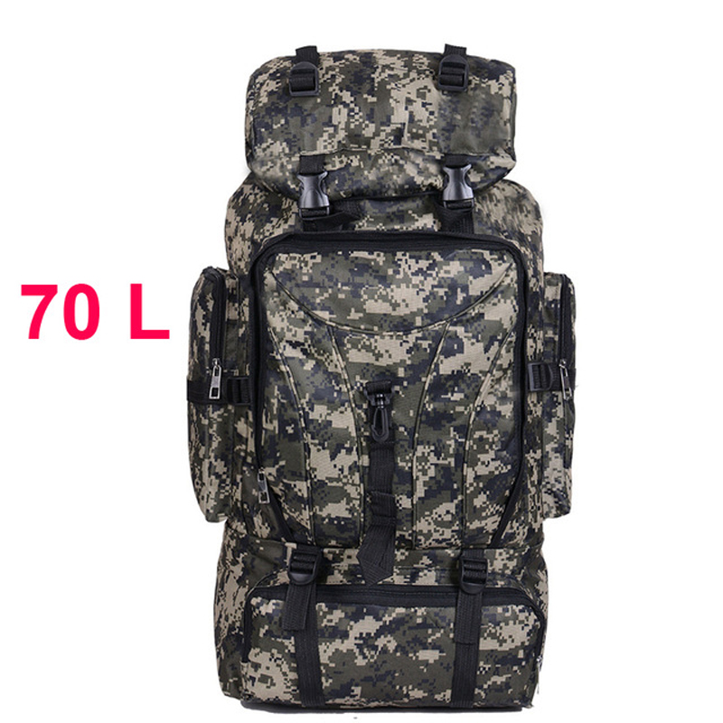 70L Men Camping Waterproof Travel Military Army <font><b>Bags</b></font> <font><b>Outdoor</b></font> Sport Molle Tactical Rucksacks Camouflage Hiking Backpacks