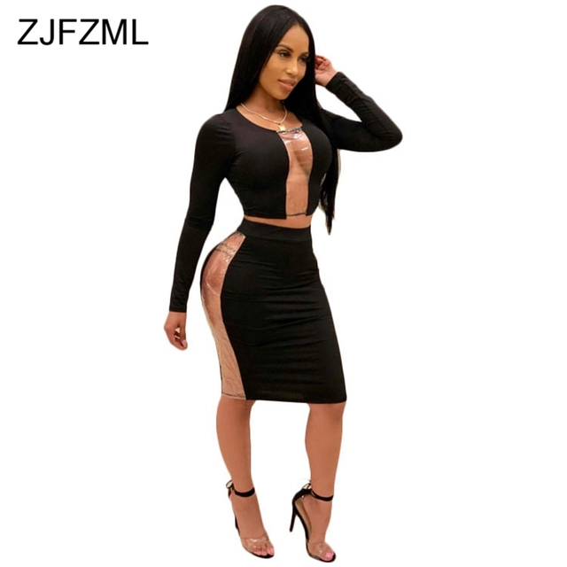 3eb71c9571 US $14.84 18% OFF|Autumn Sexy Two Piece Set Dress Women Black PVC Patchwork  Transparent Party Dress Elegant Red O Neck Long Sleeve Bodycon Dress-in ...
