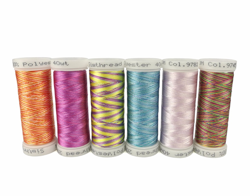 Simthread Multicolor-Stickgarnspulen je 300 Meter als Maschinen- / Handnähen Quilten Umschlingen Patchworks