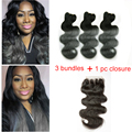 7A Grade Dark Grey Ombre Brazilian Hair 3 Bundles With Lace Closure Ombre Brazilian Body Wave 100% Human Hair Weave With Closure