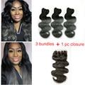 7A grau cinza escuro Ombre cabelo brasileiro 3 Bundles com Lace encerramento Ombre brasileiro da onda do corpo 100% cabelo humano Weave com fecho