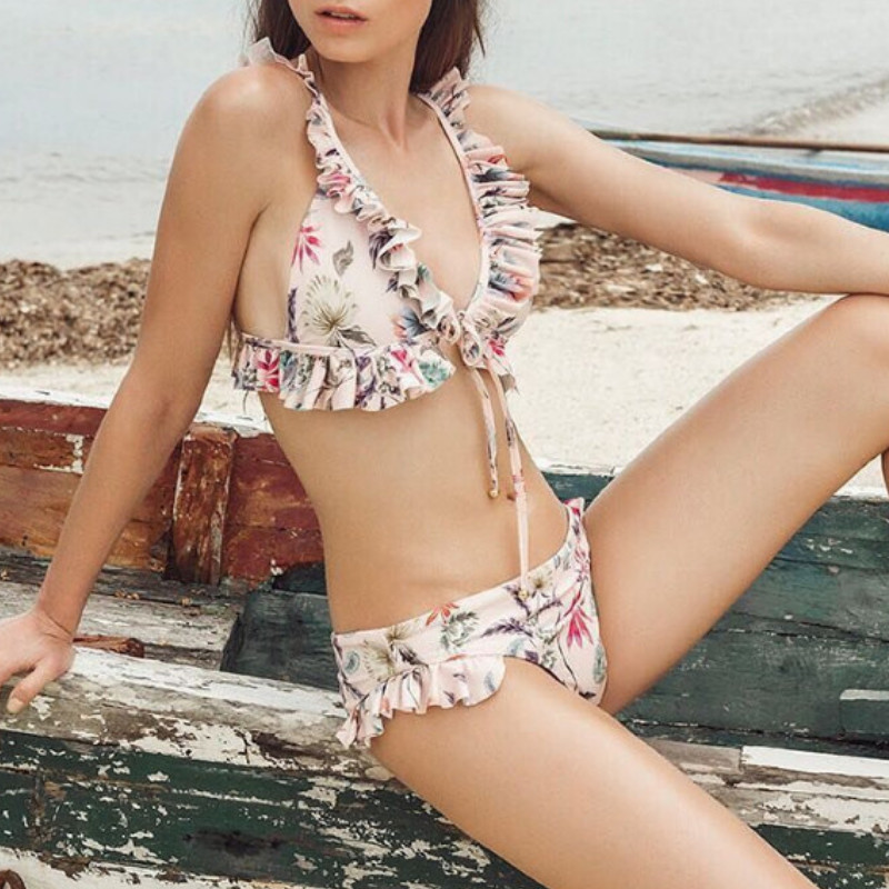Women's Bikini Set 2019 Summer Ruffle Print Swimwear Push-up Padded Bra Beach Swimsuit Bathing Suit Swimwear