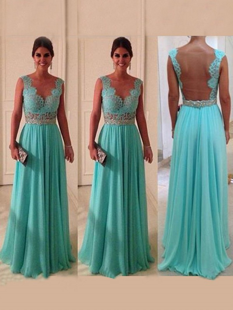 Custom Transparent High End Dress Turquoise Party Evening Gowns Deco ...
