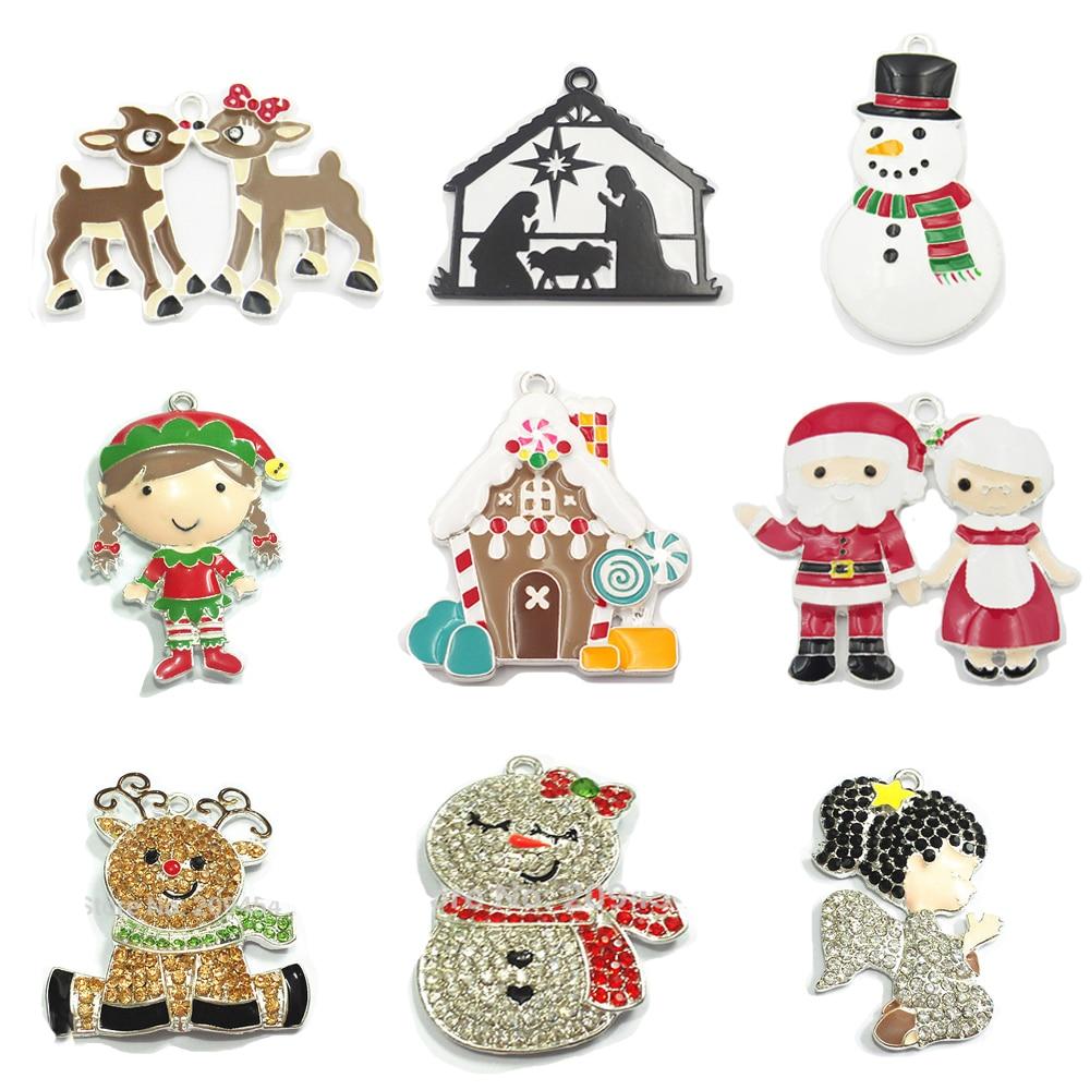 10pcs/bag Zinc Alloy Christmas Series 2: Rhinestone Snowman,Angel Girl Enamel Santa,Elk,Deer Pendant ( Choose Design First ) 14k enamel heart angel pendant jewelryweb