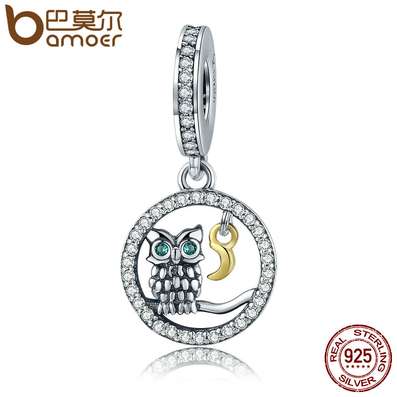 купить BAMOER Authentic 925 Sterling Silver Owl Story Owl & Moon Animal Dangle Charms fit Women Charm Bracelets Jewelry Gift SCC254 в интернет-магазине