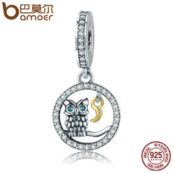 BAMOER Authentic 925 Sterling Silver Owl Story Owl & Moon Animal Dangle Charms fit Women Charm Bracelets Jewelry Gift SCC254