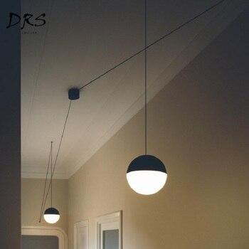 נורדי שחור זכוכית כדור תליון אורות DIY גיאומטרי ארוך קווים גלוב תליון מנורות DIY דוגמנות לופט Lampara Para Comedor