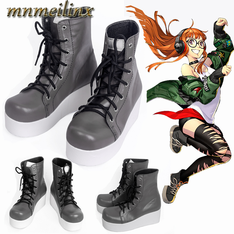 Newest Hot Anime Persona 5 Futaba Sakura Cosplay Boots Game Cosplay Shoes Custom Made Unisex Halloween COS  Free Shipping