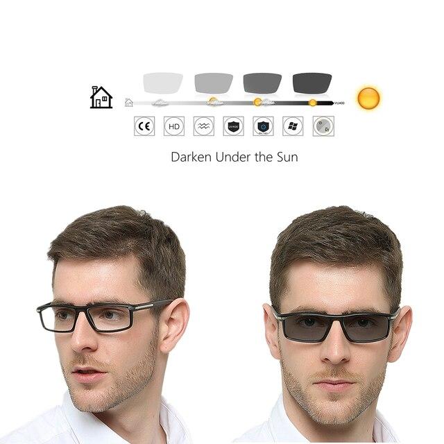 Lunettes de conception photochromie pour hommes | Lunettes de soleil Discoloration avec dioptes, caméléon 1.0 1.25 1.50 1.75 2.0 2.50
