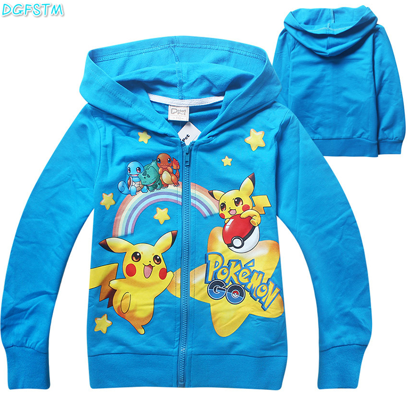 2017 New Pokemon Go T-shirt Boys Coats Cotton Cartoon Hoodies Tshirt For Boys Children Clothing For 3-10 Years Old Kids Jackets