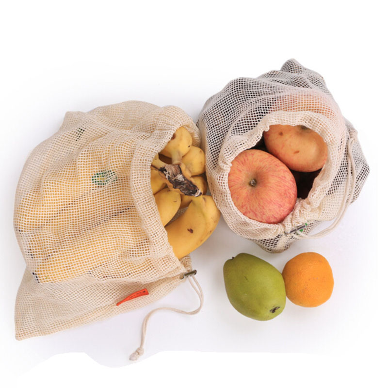 2019Reusable Produce Bags Cotton Vegetable Bags Mesh Bags With Drawstring Home Kitchen Fruit And Vegetable Handbag Shopping Bags