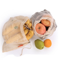 Reusable Produce Bags Cotton Vegetable Bags Mesh Bags With Drawstring Home Kitchen Fruit And Vegetable Handbag Shopping bags Shopping Bags