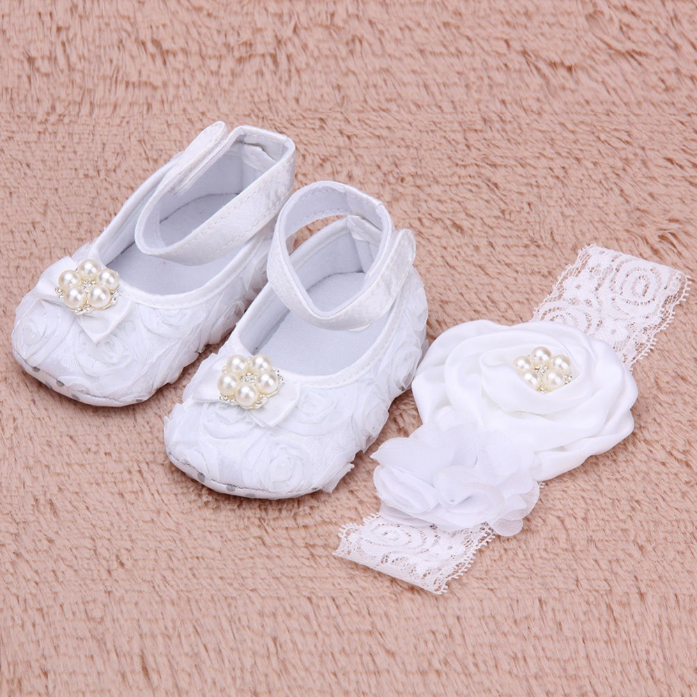 NEW Baby Girl Flower& Pearl White Christening Shoes Footwear Pearl Headband Set