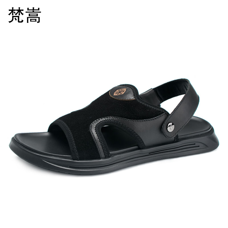 roman sandals anti skid breathable mens beach shoes outdoor soft sole leisure fashion fender summer men genuine leather slippers in Slippers from Shoes
