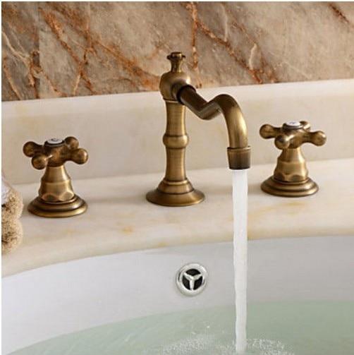 Euro Style Bathroom Sink Faucet Basin Mixer Tap Two Handles Antique Brass Deck