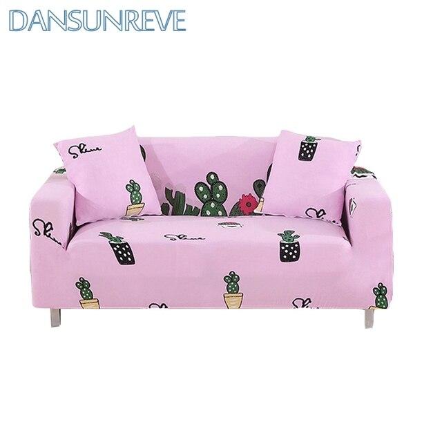 Pink Living Room Slipcover Decoration for Sofa Love Cartoon Cactus ...