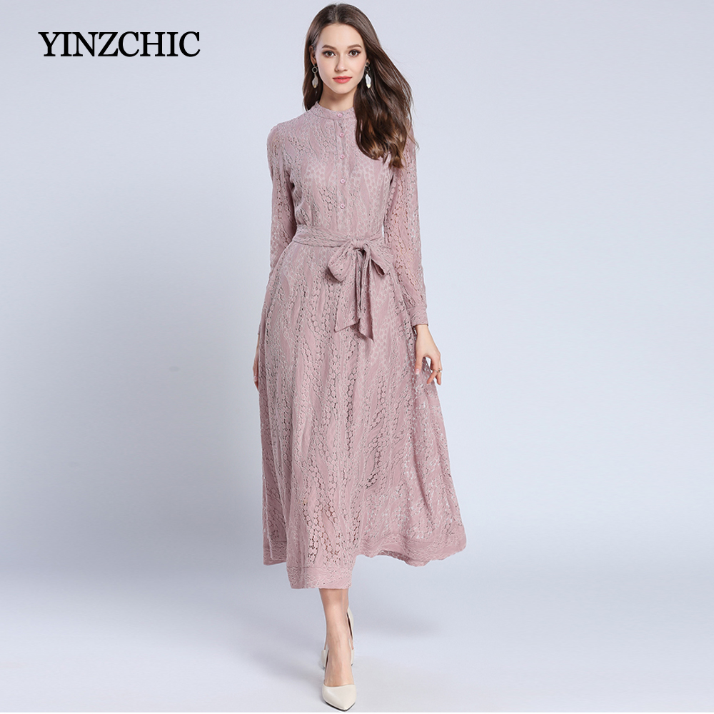 fashion woman spring new lace dress quality female party a line dress OL casual street calf length dress