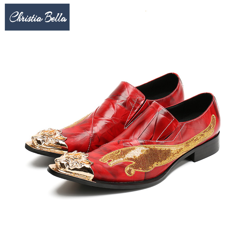 купить Christia Bella Brand Fashion Men Shoes Genuine Leather Metal Toe Wedding Dress Shoes Plus Size Glitter Party Male Formal Shoes по цене 4508.23 рублей