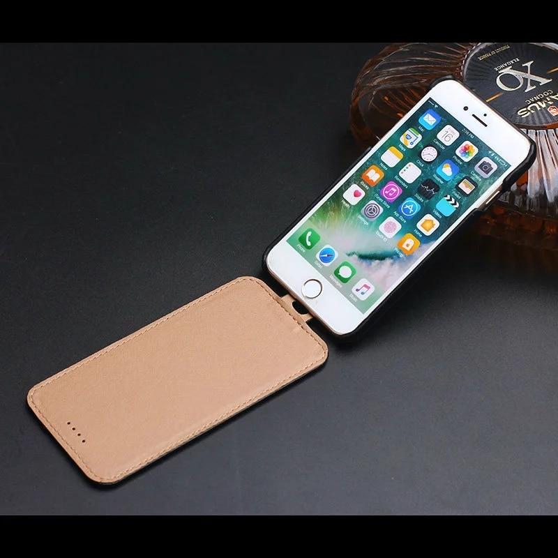 Цена за Оригинальный Природный Настоящее Подлинная Корова Кожаные Чехлы Для iPhone 7 7 плюс 5.5 Сотовый Телефон Роскошные Верхние и нижние флип Задняя Крышка случае